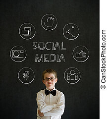 Thinking boy business man with social media icons - Thinking...