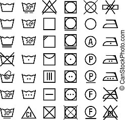 Set of icons on clothing label. - Set of vector icons on...