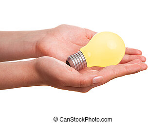 Light bulb in hand, isolated on white background