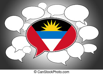 Speech bubbles concept - spoken language is from Antigua and...