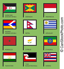 Flags flat set-15 - Flags of the world, flat vector...