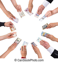 concept crowdfunding with a lot of hands with different...