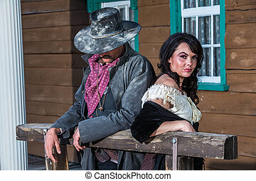 Gruff Man and Woman - Portrait of a woman and sheriff
