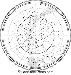 Astronomical Celestial Map of Northern Hemisphere detailed...