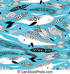 floral pattern with whales