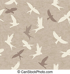 Seamless pattern with birds - Seamless retro pattern with...