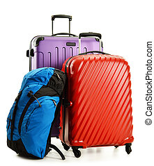 Suitcases and rucksacks isolated on white - Luggage...