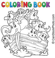 coloração, livro, Noahs, Arca, tema, 1