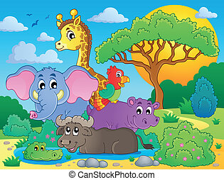 Cute African animals theme image 8 - eps10 vector...