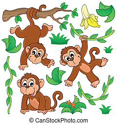 Monkey theme collection 1 - eps10 vector illustration