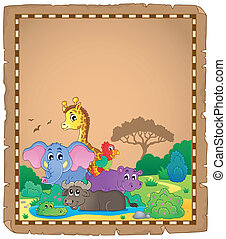 Parchment with African animals 1 - eps10 vector illustration...