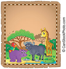 Parchment with African animals 3 - eps10 vector illustration...