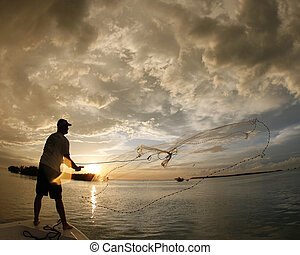 Cast netting bait in the FLorida Keys