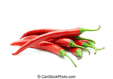 Hot red chili or chilli pepper isolated. - Hot red chili or...