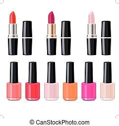 Set with lipsticks and nail varnish. No gradients, no...