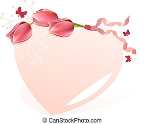 Delicate heart-shaped frame - Delicate pink heart-shaped...