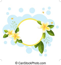 Round frame with tropical flowers - Green round frame with...