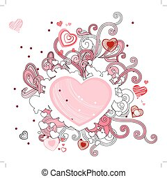 Abstract contour shape with hearts