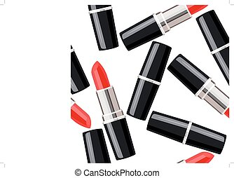 Seamless pattern with lipsticks No gradients, no meshes
