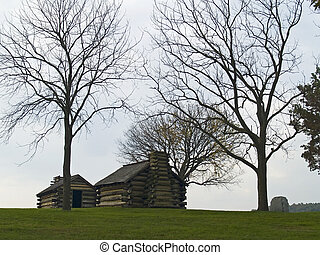 Log Cabins Valley Forge - Historic log cabins on a hillside...