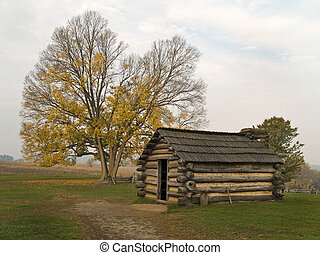 Hut, Valley Forge - An historic small cabin where soldiers...