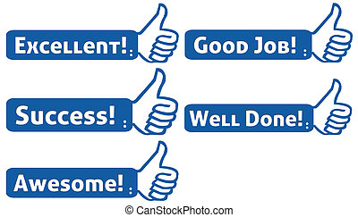 Thumb Up Blue with Text Set 2 - Positive messages on a blue...