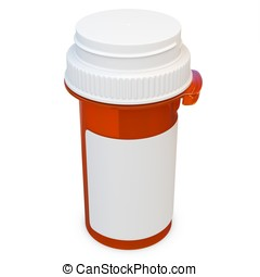 3d amber plastic medical container for pills or capsules. Blank for label