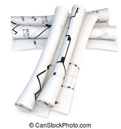 3d folded blueprint scrolls on white background