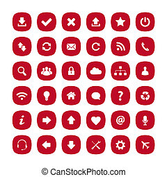 Red flat rounded square icons - Set of red flat rounded...