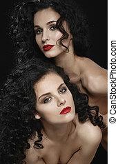 deux, dénudée, brunette, lesbienne, Amour,...