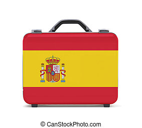 Business suitcase for travel with flag of Spain