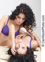 Lesbian play Two beautiful girls in love foreplay