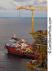 Offshore supply boat for transfer the cargo in offshore oil...