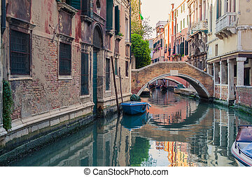 Venice canal with gondolas