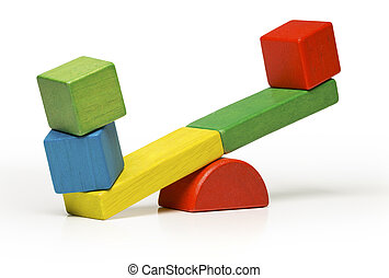 toys seesaw wooden blocks on white background