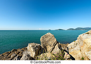 Gulf of La Spezia - Liguria Italy - Panorama of the Gulf of...