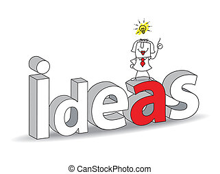 "Idea - Word ""Ideas"" in a 3D style with Karen the..."