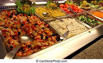 Acero, bandejas, Muchos, delicioso, alimentos, autoservicio,...