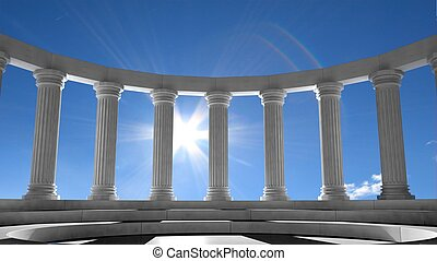 Ancient marble pillars in elliptical arrangement with blue...