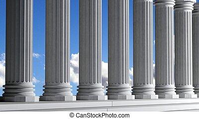 antiga, Mármore, pilares, fila, azul, céu