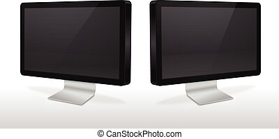 Dual Mnitors - Two monitors with blank screen vector...