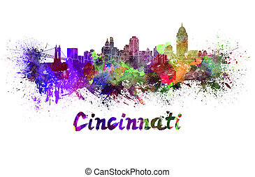 Cincinnati skyline in watercolor splatters with clipping...