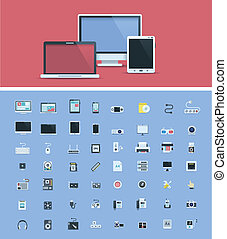 Computer hardware icon set - Set of the simple computer...
