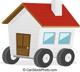 Moving House - Cartoon house on the wheels