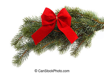 Gift ribbon - Red gift ribbon on fir tree branch on a white...