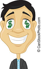Greed - Smiling businessman with dollar signs in his eyes