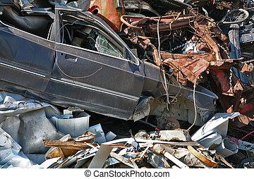 scrap and junk pile - scrap metal, plastic wrecked car
