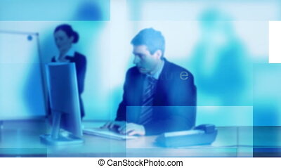 Businessman working in office - Young Businessman working in...