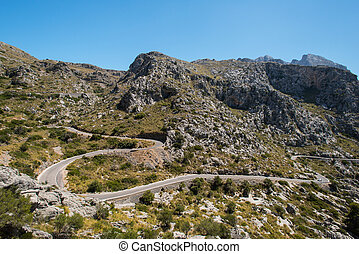 Winding road in mountain in Mallorca Spain