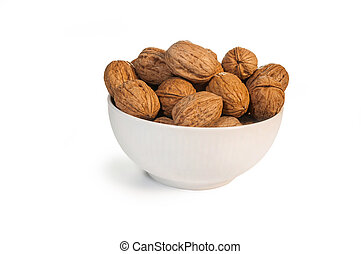 Walnut - Delicous group of walnut in a glass bowl